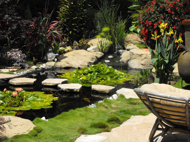pond waterfall design ideas mediterranean landscape santa