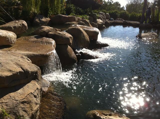 Pond Waterfall Design Ideas Mediterranean Landscape
