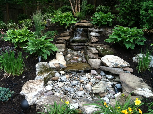 Pondless water feature traditional landscape new for Garden design features