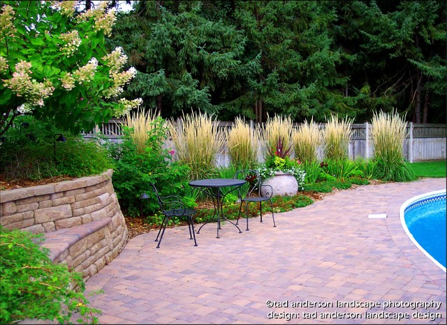 Pool patio renovation massed ornamental grasses - Garden design using grasses ...