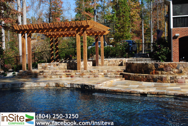 Pool, Patio, Spa and Water Feature in Rockville Va traditional-landscape