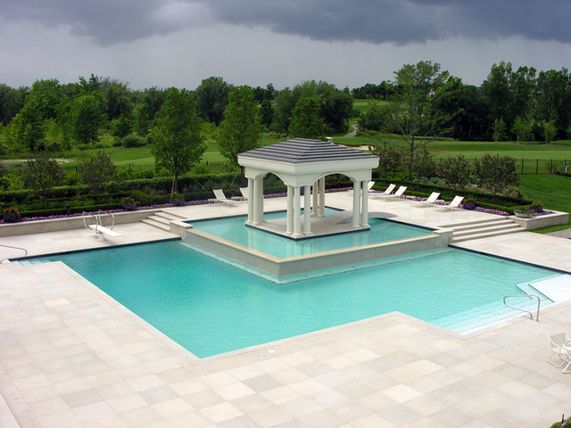 Pool with patio island golf course landscape design for Pool design regrets
