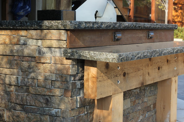 Post n Beam Outdoor Kitchen rustic-landscape