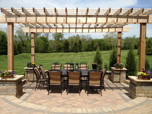 Water And Fire Features For Backyards : Powell patio, pergola, firepit, water feature traditionallandscape
