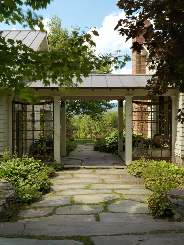 This is an example of a traditional shade stone landscaping in Burlington.