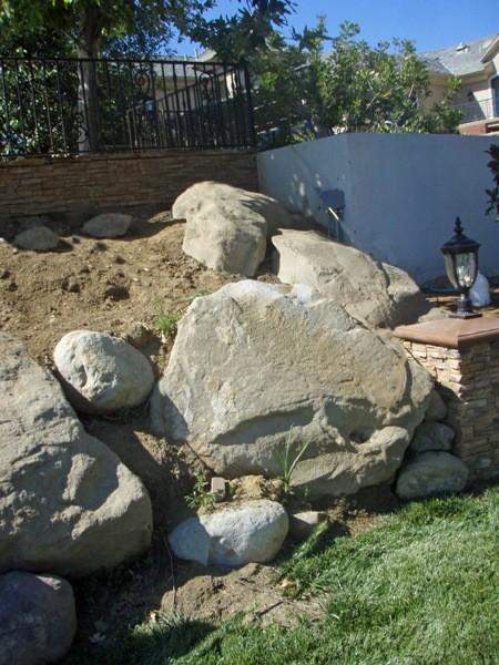 Precast boulders and rocks rustic landscape los for Landscaping rocks los angeles