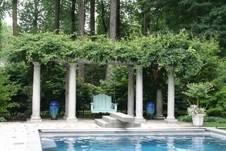 puedes usarlas para hacer un porche junto a la piscina si visitas columnas de piedra vers algunos ejemplo