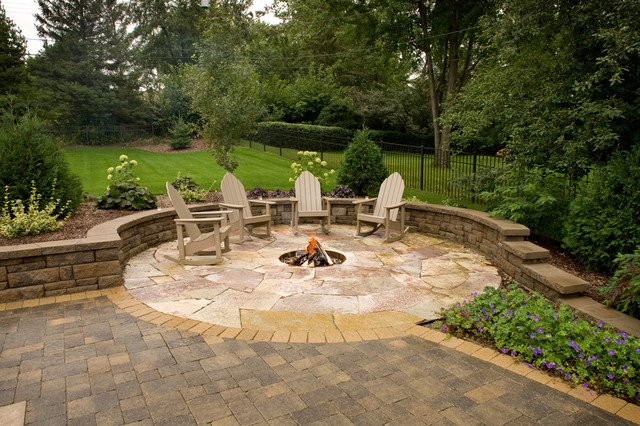 Private In Ground Fire Pit Contemporary Landscape Minneapolis