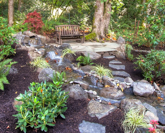 Private paradise portland landscaping rustic landscape for Rustic landscape ideas