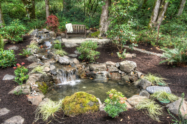 Private paradise portland landscaping rustic landscape for Garden pond design