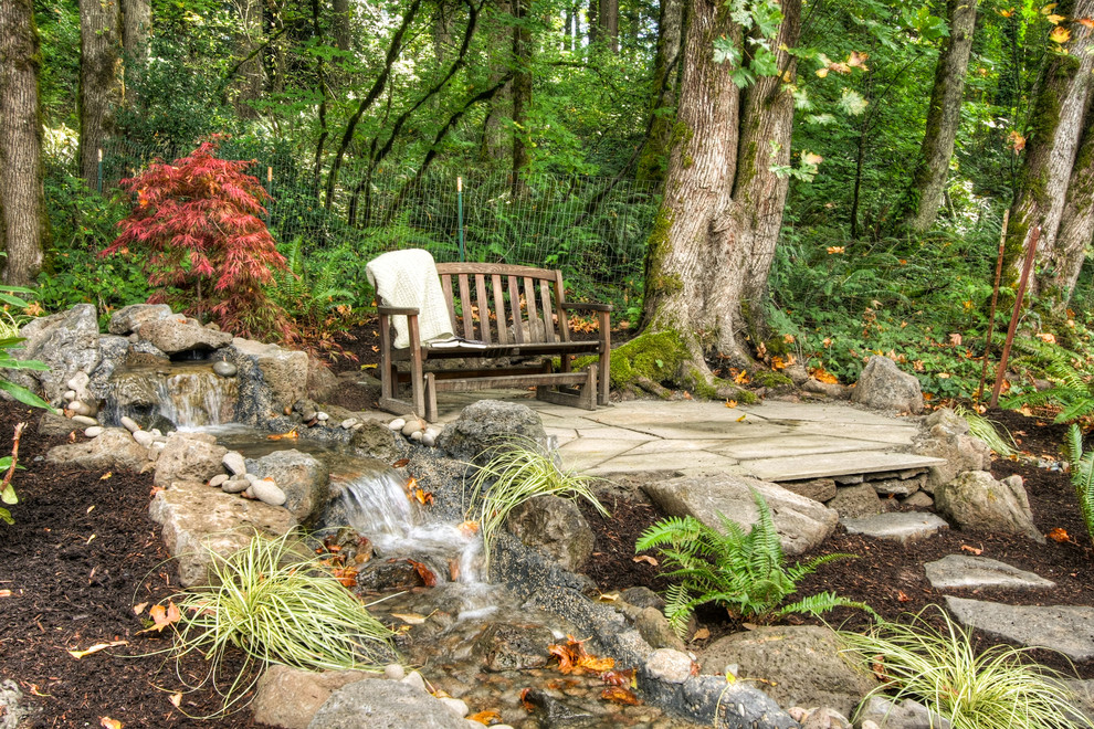 This is an example of a rustic water fountain landscape in Portland.