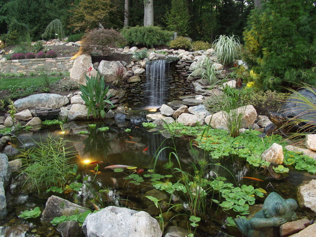 Private residence with koi pond 1 for Koi pond design photos