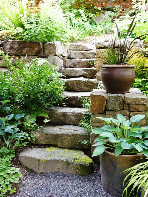 Queen Anne Residence Stone Wall Steps Traditional