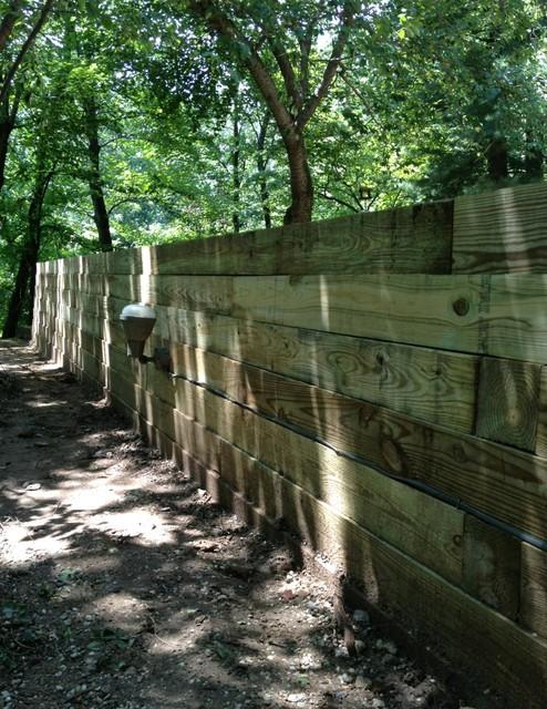 Railroad Tie Retaining Wall - Frank Lloyd Wright Home