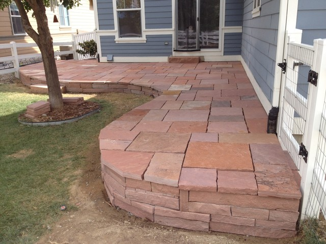 Raised Flagstone Patio Longmont CO By Mountaineer