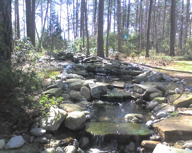 Raleigh koi pond stream japanese teahouse rustic for Pond stream design