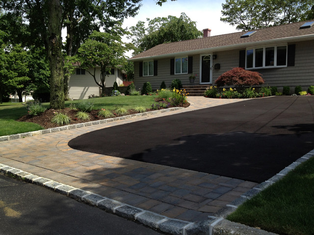 Ranch House Driveway and Front Entry Paving installation ... on ranch house curb appeal, ranch house kitchen remodel, ranch house patios, ranch house bathroom designs, ranch house front landscaping, ranch house outdoor kitchen, ranch house deck designs, ranch house basement ideas, colonial home landscape design,