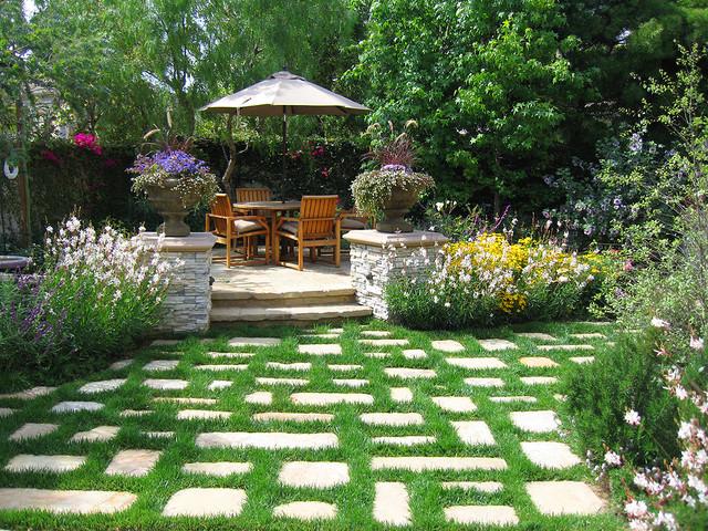 Rear Yard Landscape & Hardscape traditional-landscape
