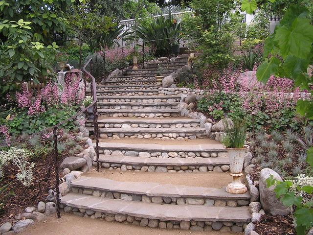 Reclaimed blue stone staircase traditional landscape for Landscaping rocks los angeles