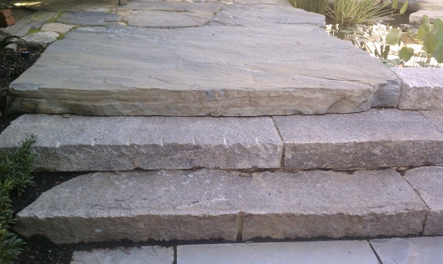 Reclaimed Granite Curbing Steps and Maine Coast Stone Slab