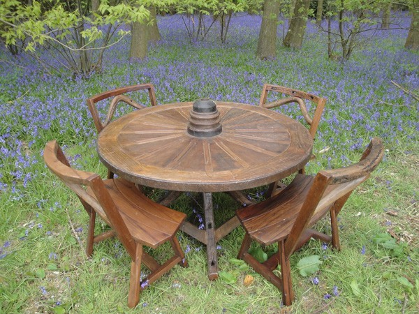 reclaimed teak old wheel set rustic outdoor dining