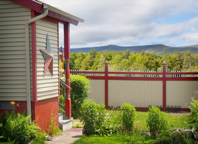 Red and Tan PVC Vinyl Privacy Fence Panels from Illusions Vinyl