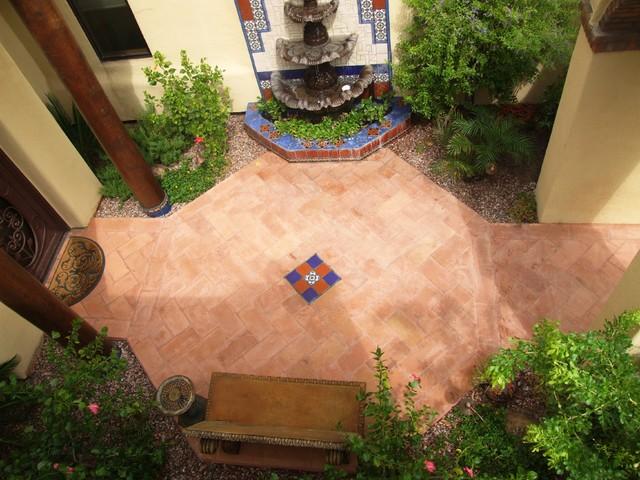 Residential Forecourt Entry Garden And Fountain Mediterranean Landscape Phoenix By