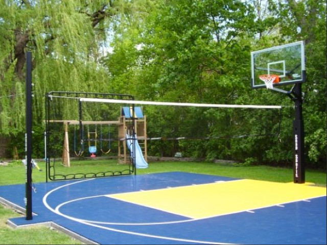 Residential sport backyard game court contemporary for Backyard sport court ideas