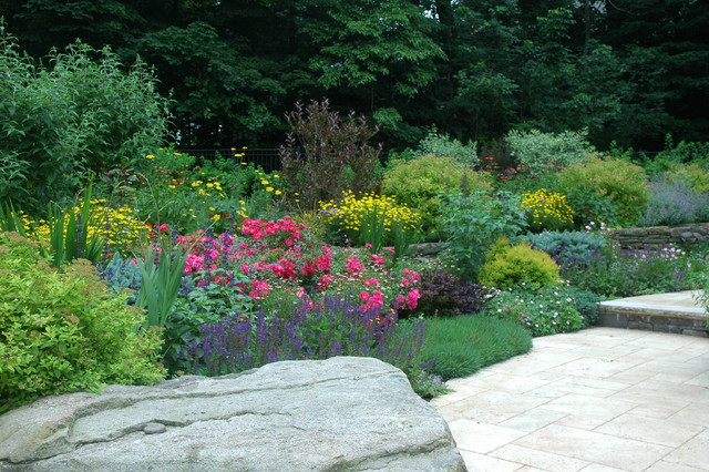 Mixed border planting traditional landscape new york for Garden border plant designs