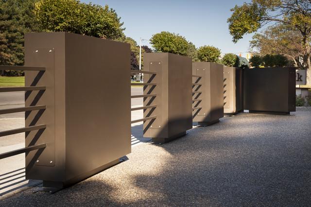 Restaurant patio planters amp metal tubing fence industrial landscape detroit by pearhut