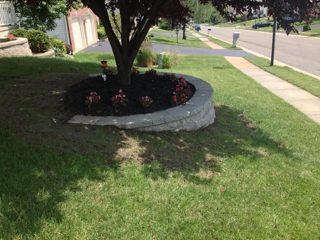 retaining wall & custom flower bed in newark, delaware