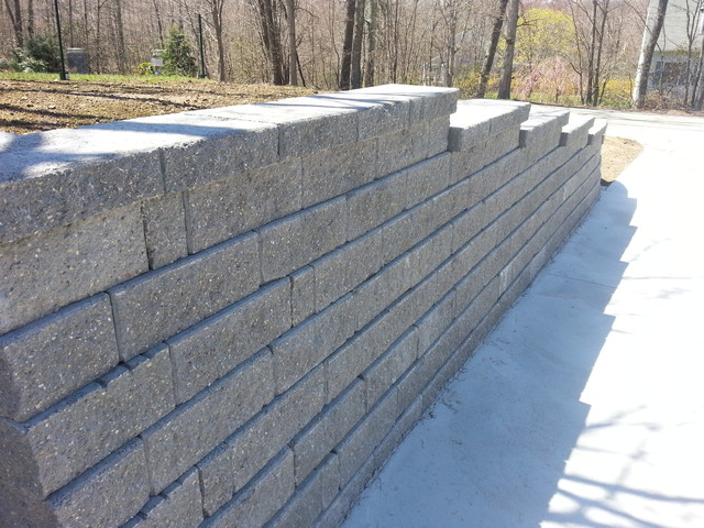 Retaining walls stairs and concrete driveway