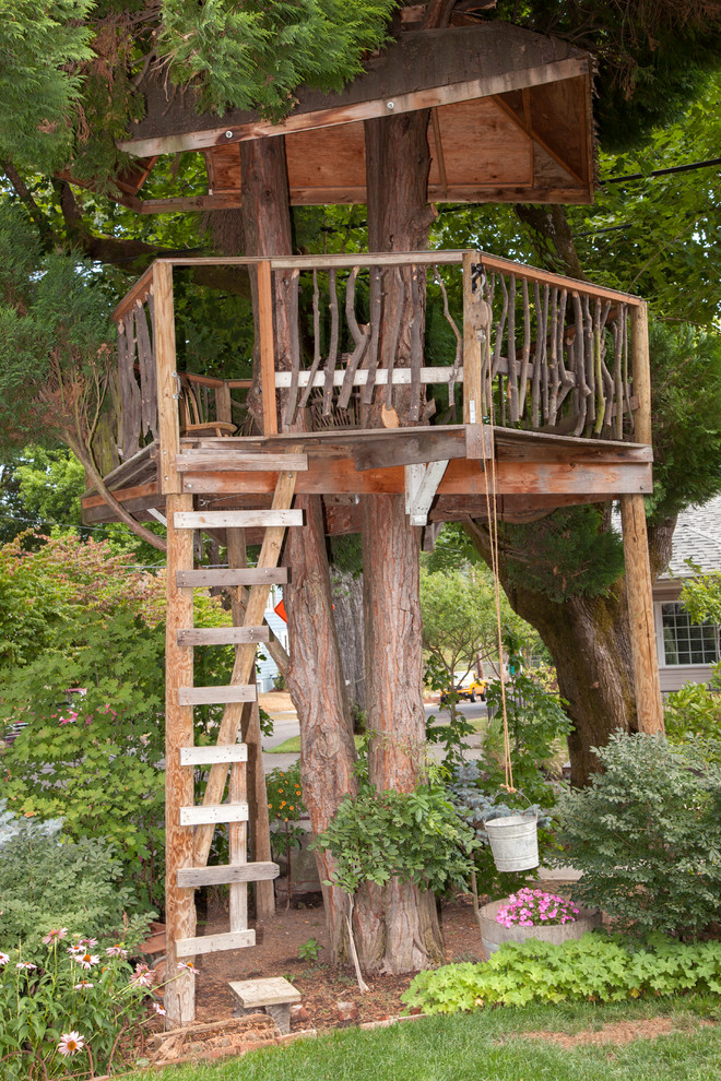 Photo of an eclectic outdoor playset in Portland.
