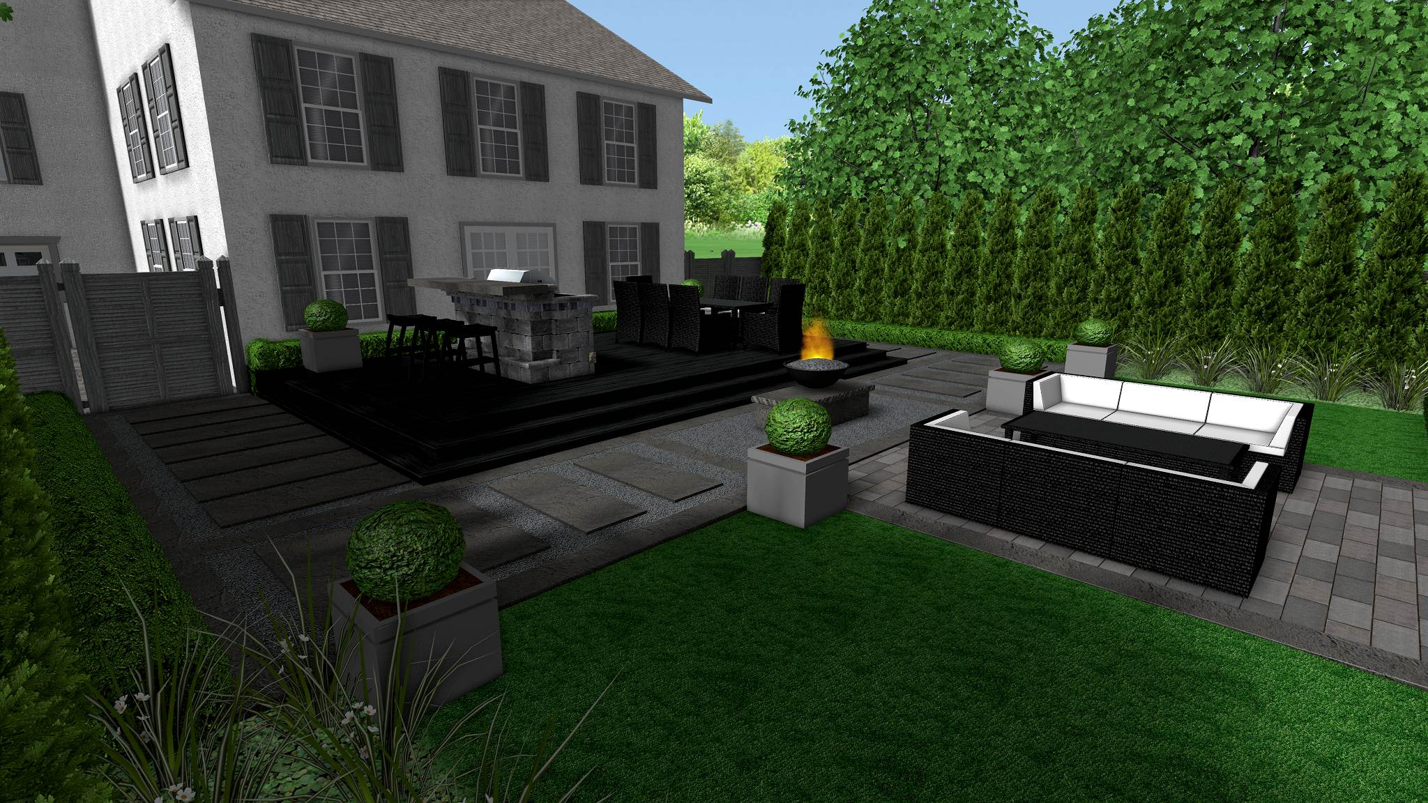 Richmond Hill Backyard Modern Formal Landscape