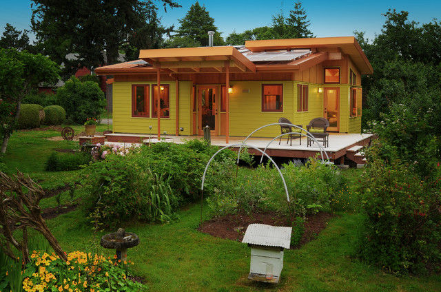 Photo of a contemporary backyard vegetable garden landscape in Other.