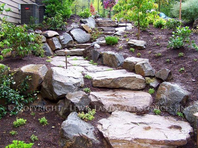 Rock Slab Steps Traditional Landscape Portland By