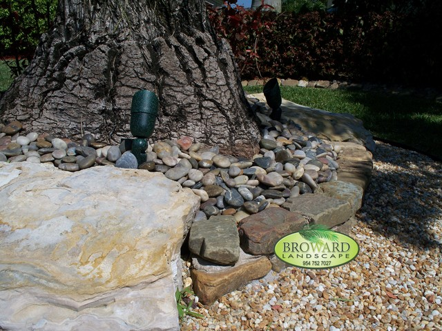 Rock wall tropical landscape miami by broward for Landscaping rocks broward county