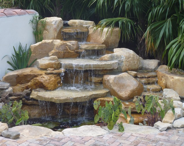 Rock waterfall and pond contemporary landscape other for Modern pond waterfall