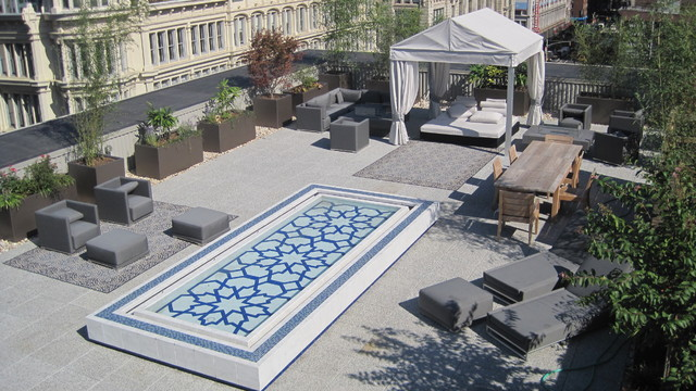 rooftop garden fountains. Black Bedroom Furniture Sets. Home Design Ideas