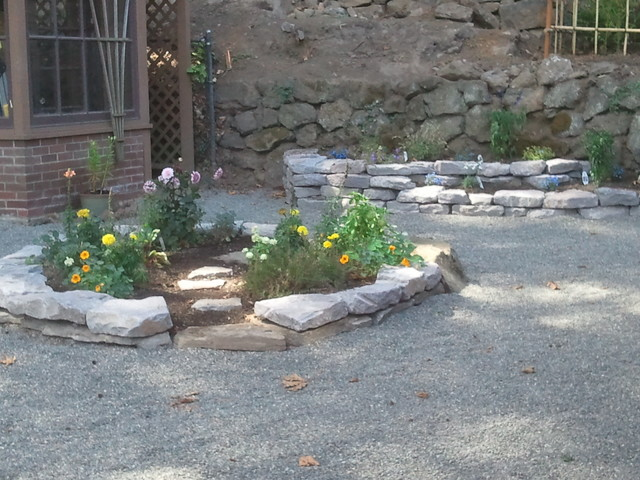 Round and Tiered Stone Garden Beds Contemporary
