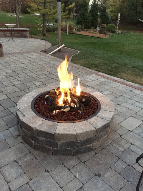 Round Gas Fire Pit Traditional