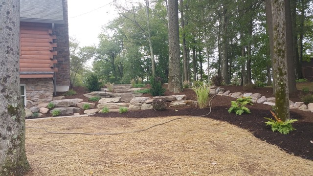 Rural landscape design fieldstone wall flagstone path for Rural landscape design