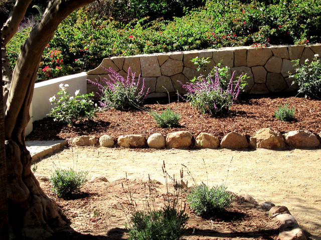Rural Santa Barbara Sandstone Garden Walls And Landscaping With Drought Tolerant Mediterranean Landscape