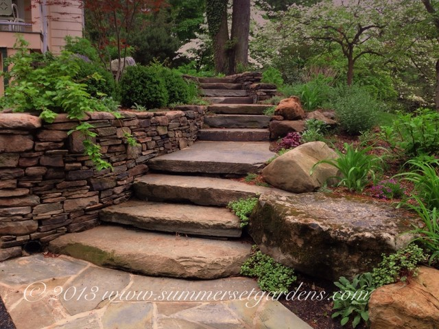Rustic garden steps in ny rustic landscape new york for Pictures of garden steps designs
