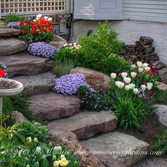 Rustic garden steps traditional landscape new york for Rustic landscape ideas