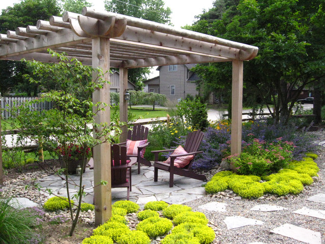 rustic pergola traditional landscape other metro