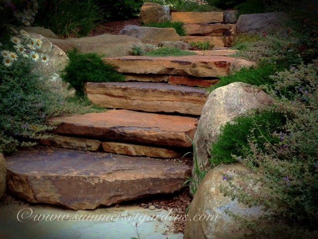 Rustic Stone Garden Steps   Traditional   Landscape   New ...