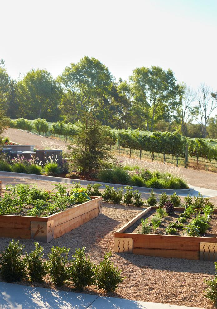 Design ideas for a rustic vegetable garden landscape in Santa Barbara.