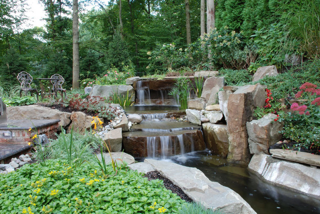 Saddle river nj natural koi pond asian landscape new for Koi pond swimming pool