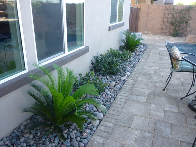 sago palms, indian hawthorne, smooth agave w/ river rock